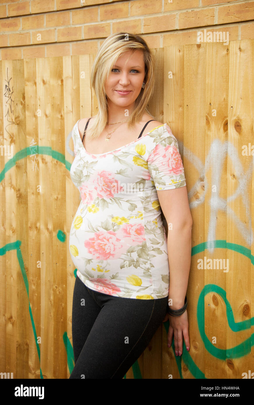 8.5 x 11 Pregnant Girl Next Door FOUND ART PHOTO Pretty Blonde Woman BW 99 25 S
