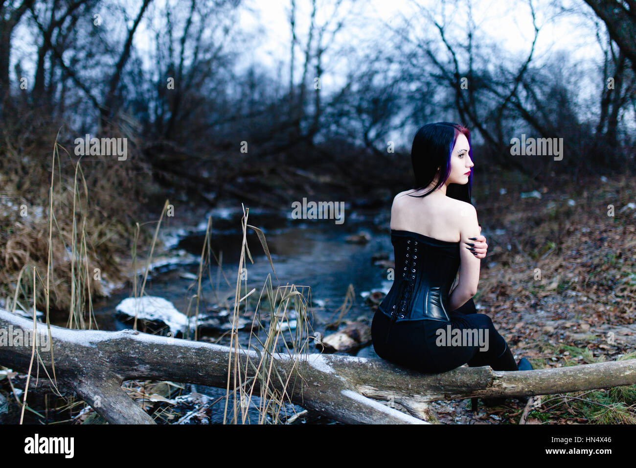 Portrait of the gothic woman near the cold creek - Stock Image