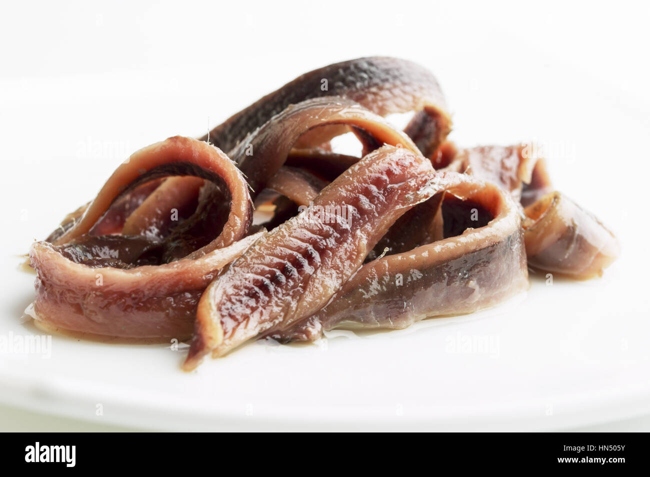anchovies in oil on a white surface - Stock Image