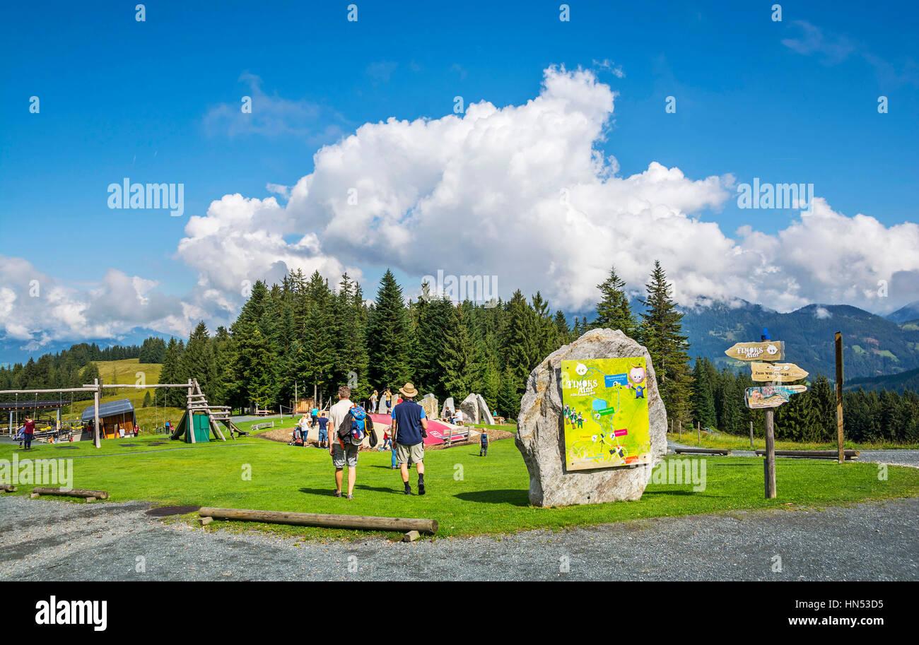 FIEBERBRUNN, TIROL, AUSTRIA - AUGUST 30, 2016. Recreation park at the intermediate station for Bergbahnen Fieberbrunn. - Stock Image