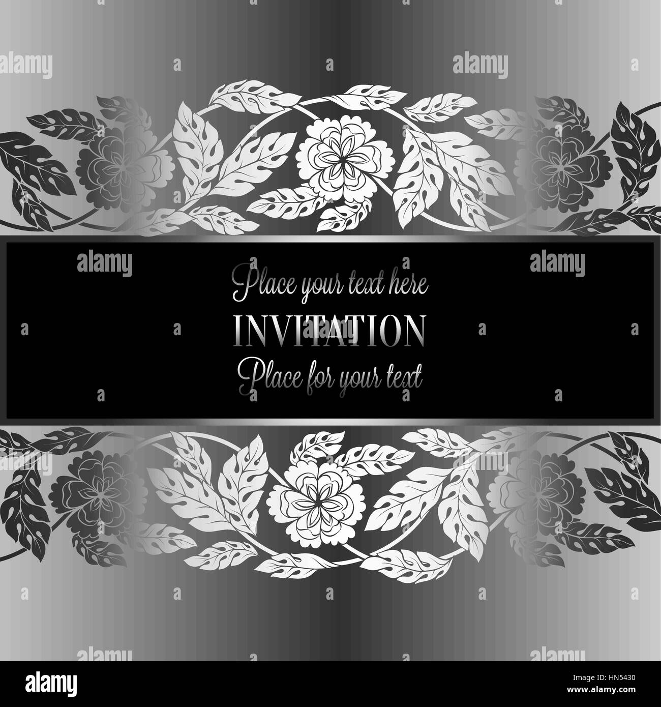 Floral Background With Antique Luxury Black Metal Silver And Gray Vintage Frame Victorian Bannerdamask Wallpaper Ornaments Invitation Card