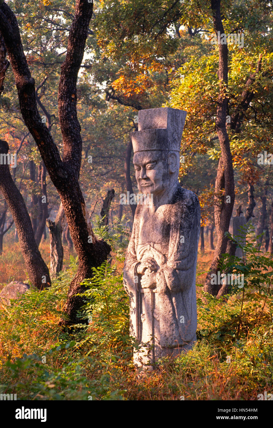 Statue of Confucian official in the Kong Woods, Confucian cemetery, in Qufu, Shandong, China. - Stock Image
