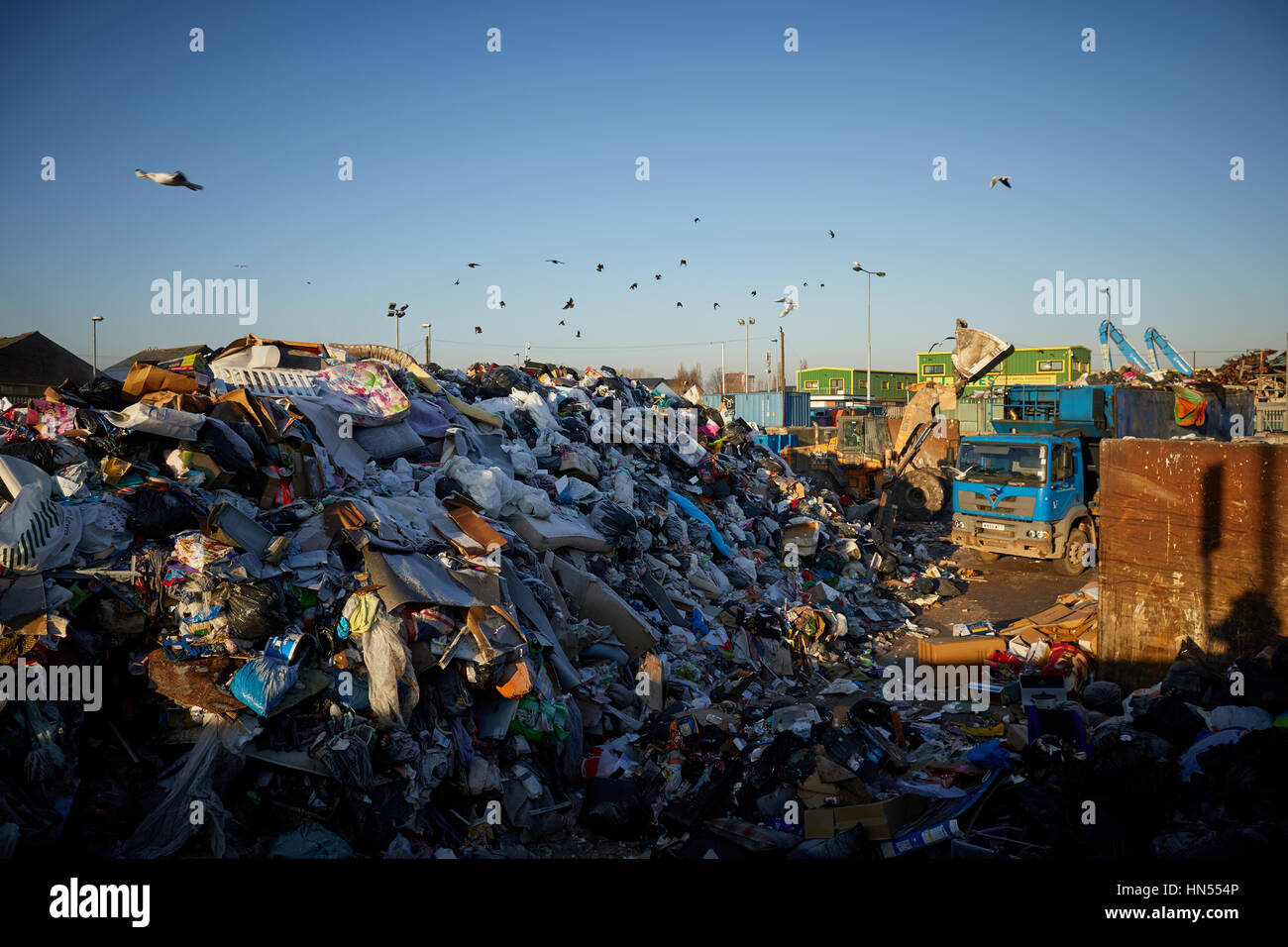 A large pile of rubbish mound at Mount Road Council run Landfill tip recycling dump in Gorton, Manchester, England, - Stock Image