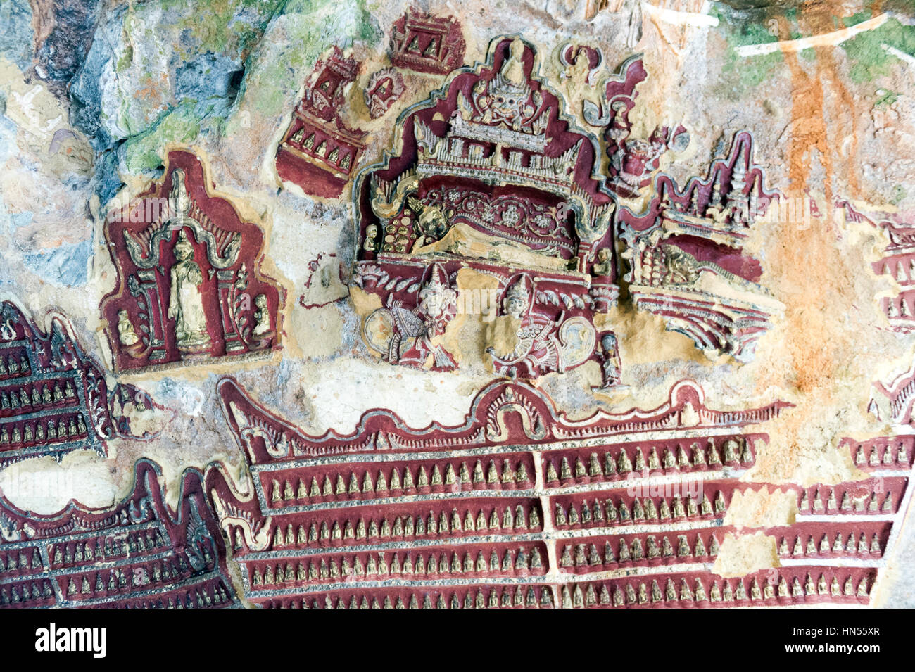 Myanmar (ex Birmanie). Kayin State (Karen State). Hpa An. Kaw Gon (Kaw Goon) cave, dating of 7th century Stock Photo
