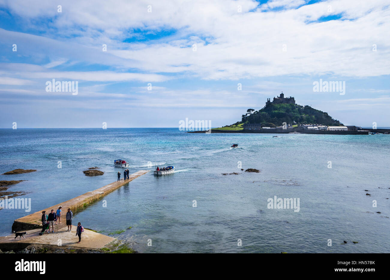 United Kingdom, South West England, Cornwall, Marazian, launches freey visitors to the tidal island of  St. Michael's - Stock Image