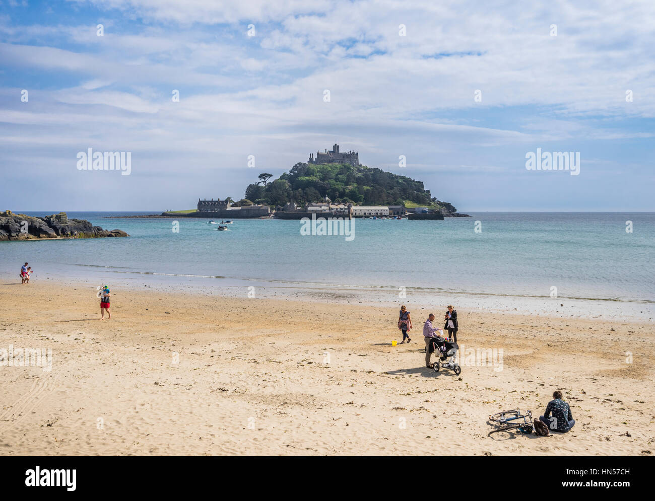 United Kingdom, South West England, Cornwall, Marazian, view of St. Michael's Mount from Marazion Beach Stock Photo