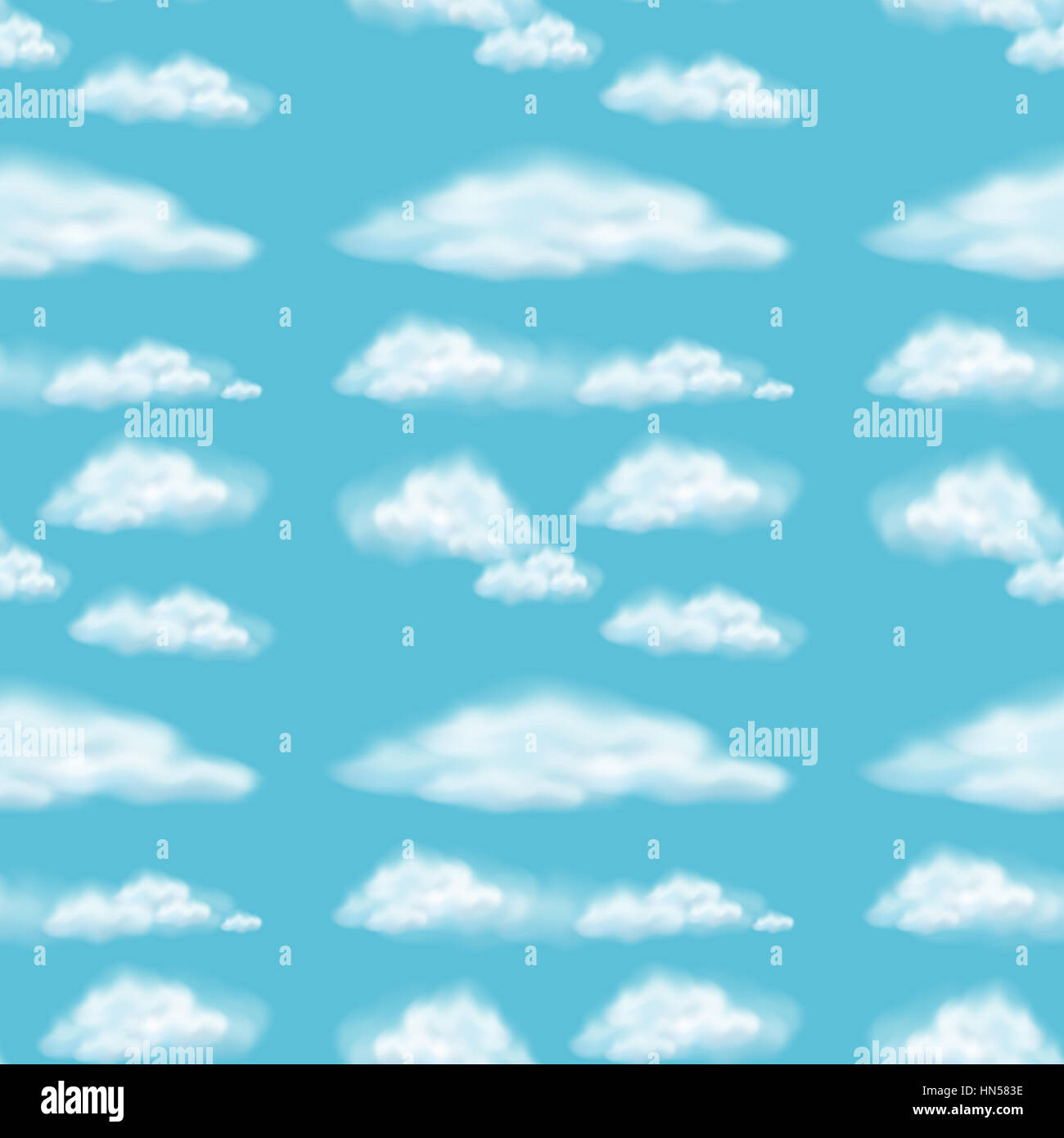 Seamless background design with fluffy clouds illustration - Stock Image