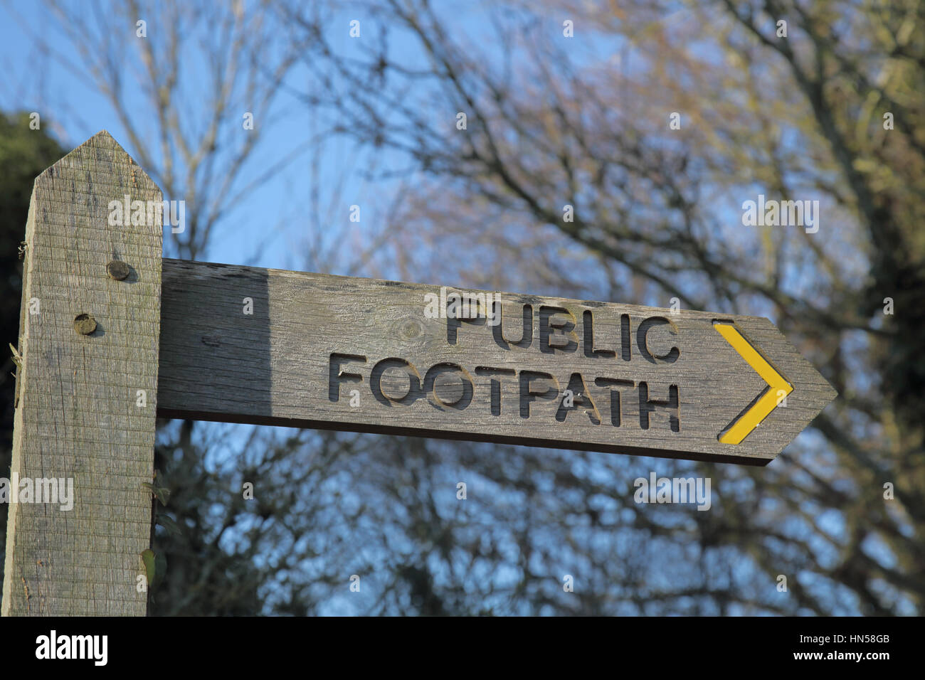 public footpath on the south downs in west sussex - Stock Image