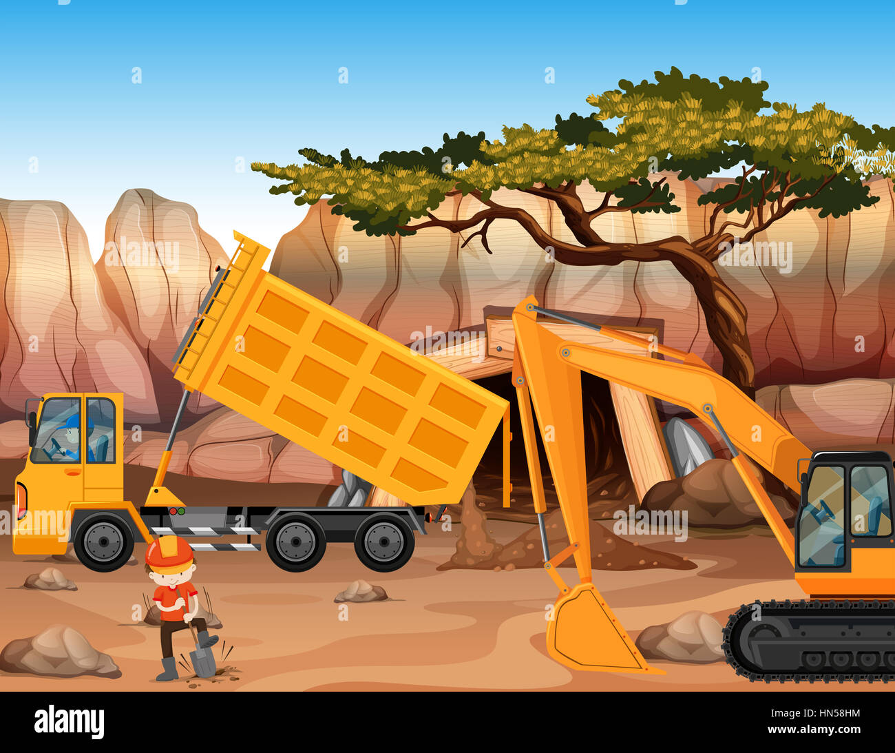 Bulldozer and dumping truck at the field illustration - Stock Image