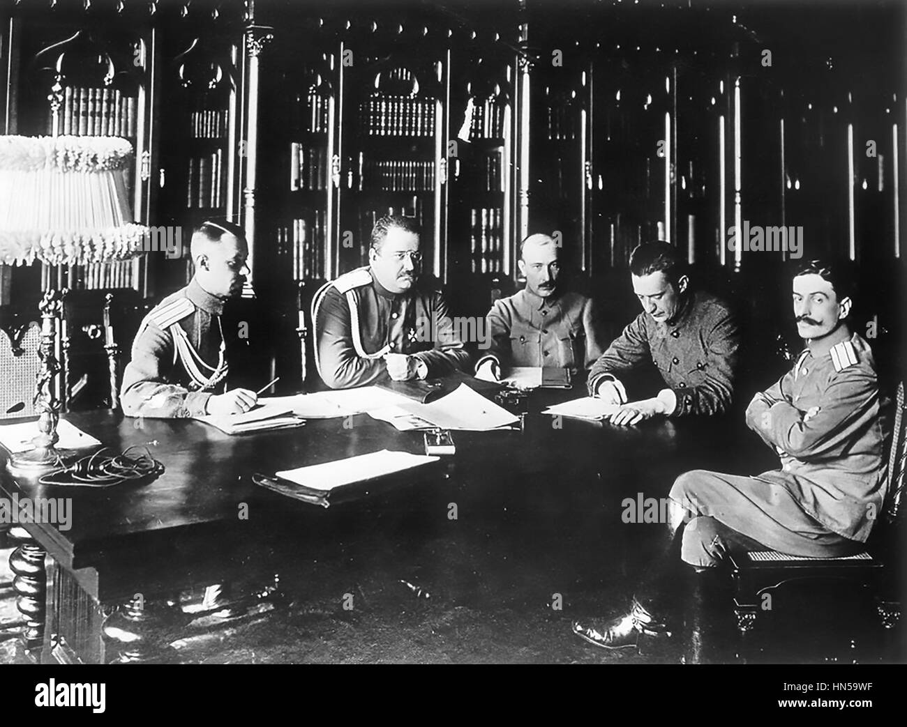 ALEXANDER KERENSKY (1881-1970) second from right as Russian Minister of War in 1917. Photo: Karl Bulla - Stock Image