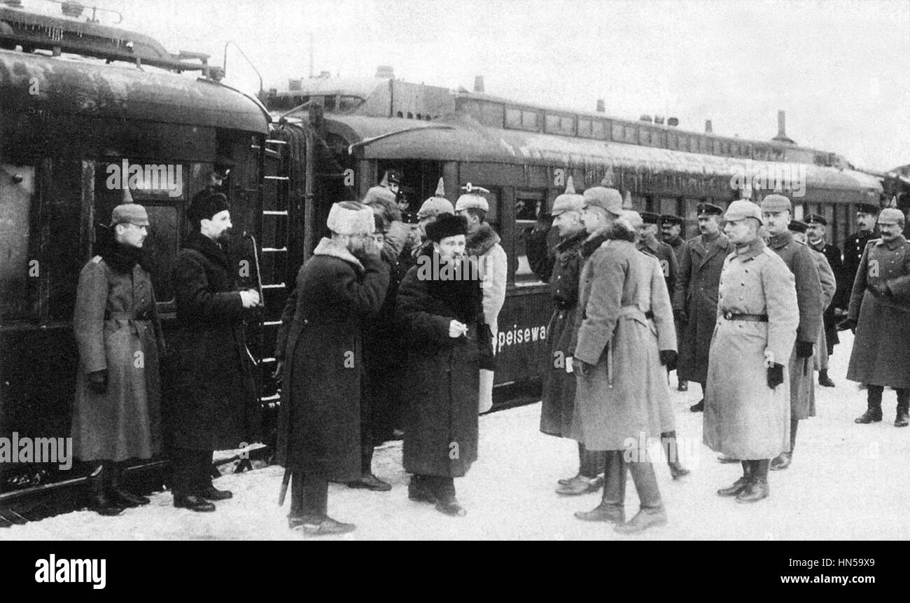 TREATY OF BREST-LITOVSK March 1918. Soviet delegate Lev Kamenev is greeted by German officers as he arrives at the - Stock Image