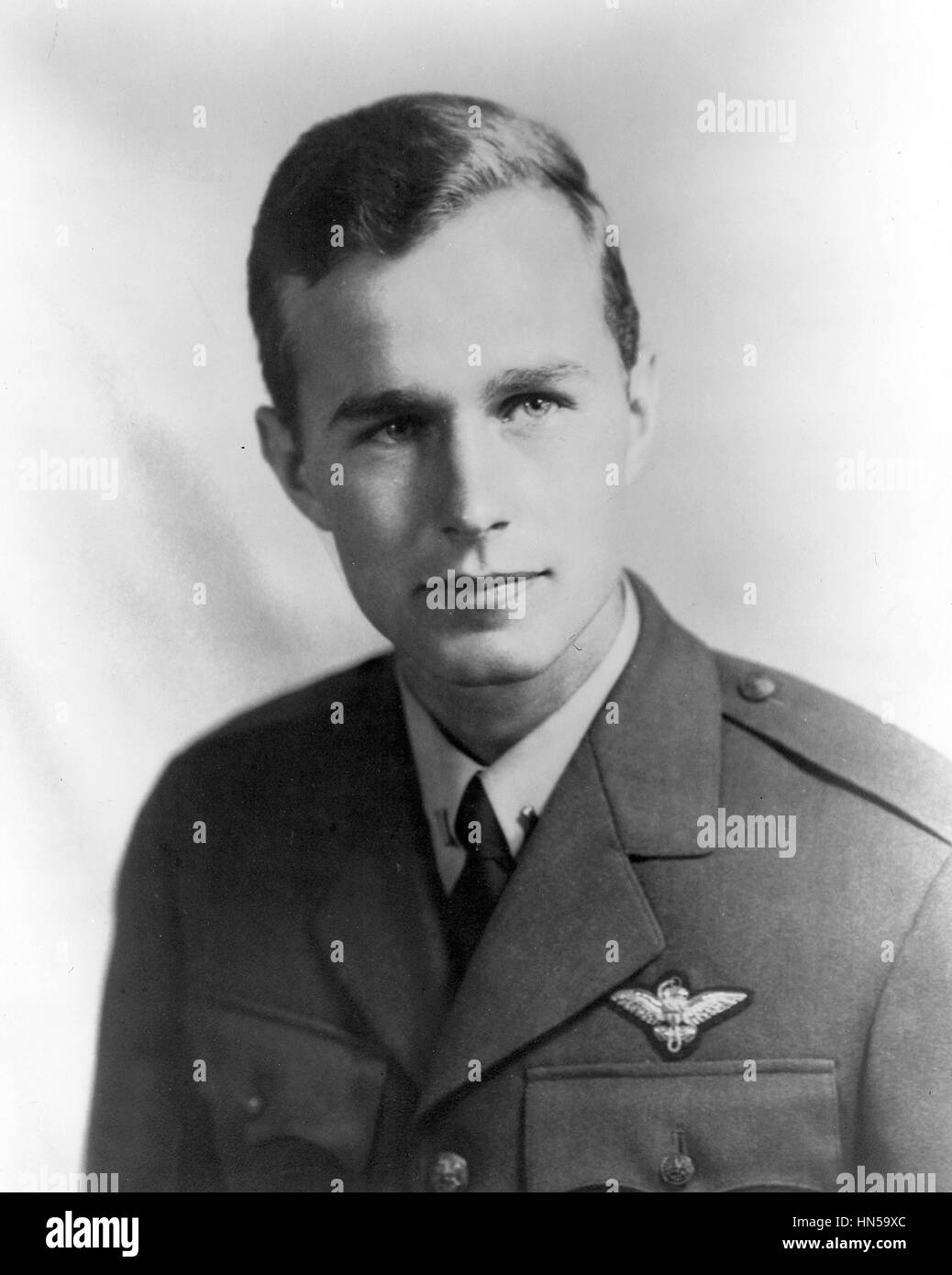 GEORGE H.W.BUSH  American President as a US Navy pilot in 1944 - Stock Image