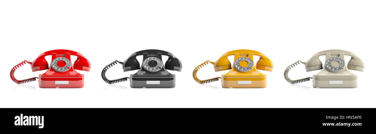 Old telephones isolated on white background. 3d illustration - Stock Image