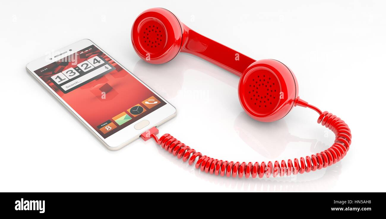 Red old phone receiver and smartphone isolated on white background. 3d illustration - Stock Image