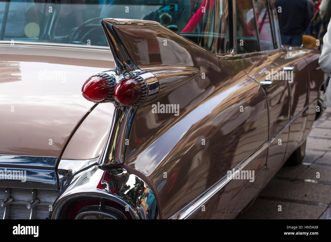 Back of Cadillac Eldorado at 2016 Rockabilly festival, Rockin Race Jamboree, Torremolinos, Andalusia, Spain. - Stock Image