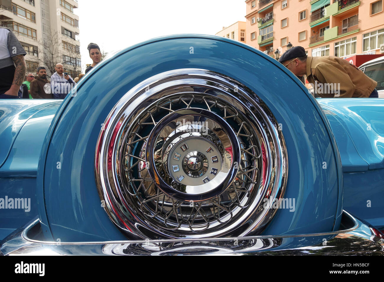 Ford thunderbird from the fifties on display at 2016 Rockabilly festival, Rockin Race Jamboree, Torremolinos, Andalusia, - Stock Image