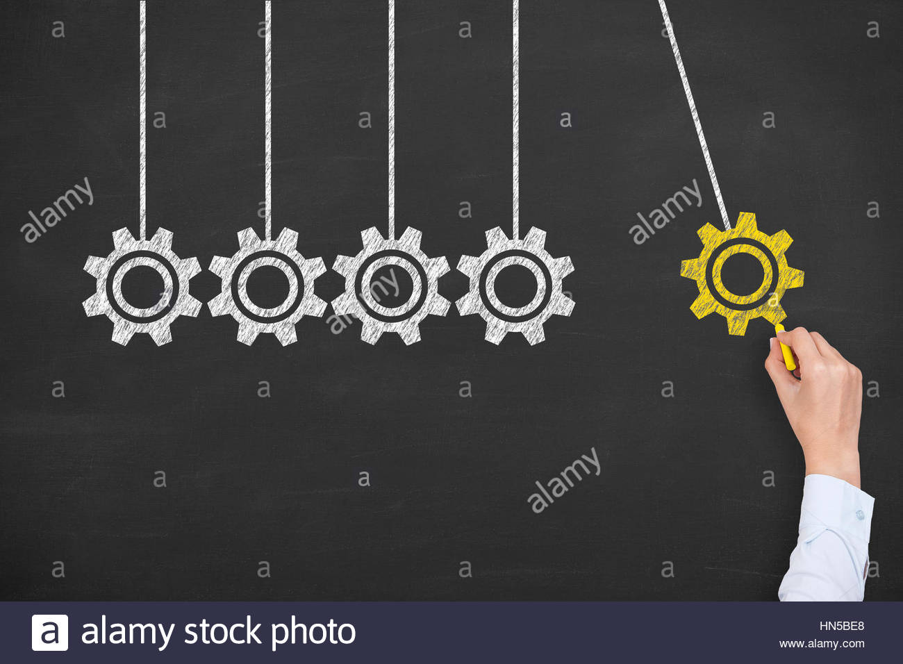 Service Concepts on Blackboard Background - Stock Image