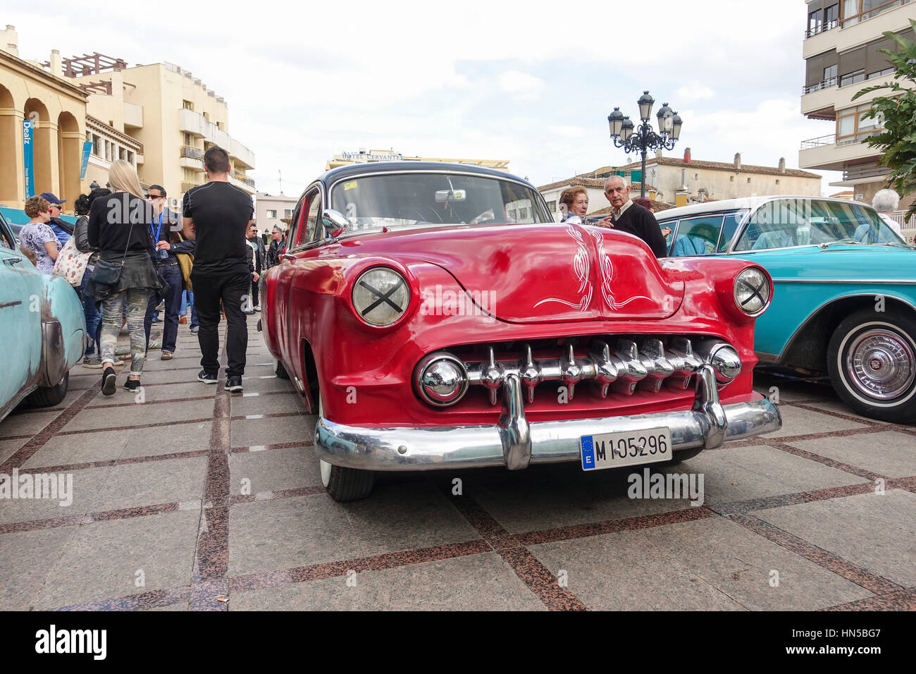 Classic cars from the fifties on display at 2016 Rockabilly festival, Rockin Race Jamboree, Torremolinos, Andalusia, - Stock Image