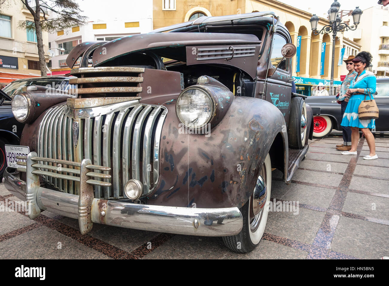Chevrolet Pickup 1946, the fifties at 2016 Rockabilly festival, Rockin Race Jamboree, Torremolinos, Andalusia, Spain. Stock Photo