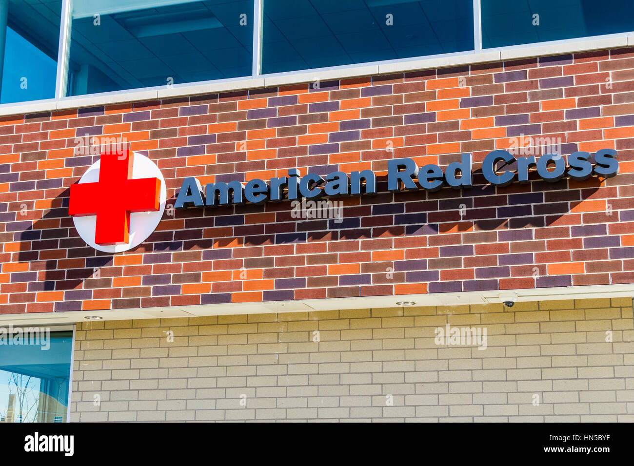 Indianapolis - Circa February 2017: American Red Cross Disaster Relief HQ. The American National Red Cross provides Stock Photo