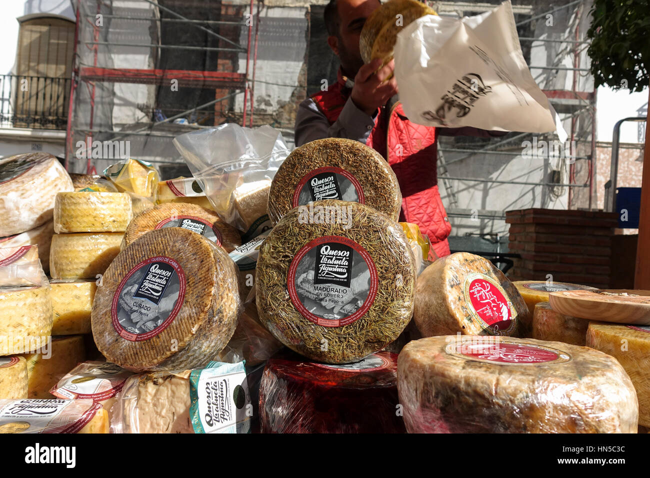 Spanish goat cheese cheeses on display at Fiesta de matanza, Annual Celebrations in Ardales.Andalusia, Spain. Stock Photo