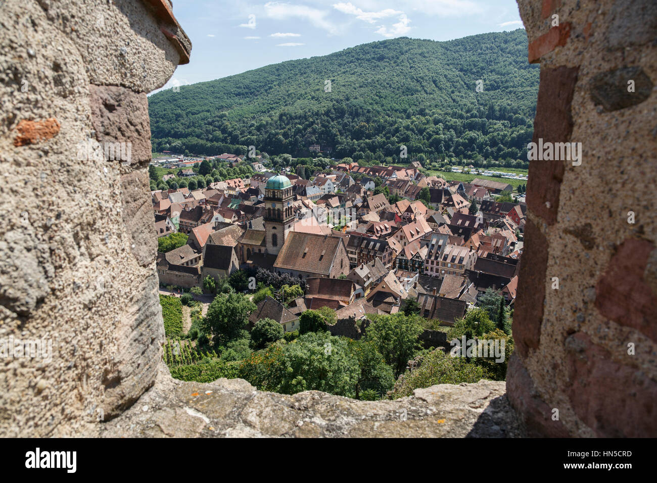 Kaysersberg from the chateau, Alsace, France - Stock Image