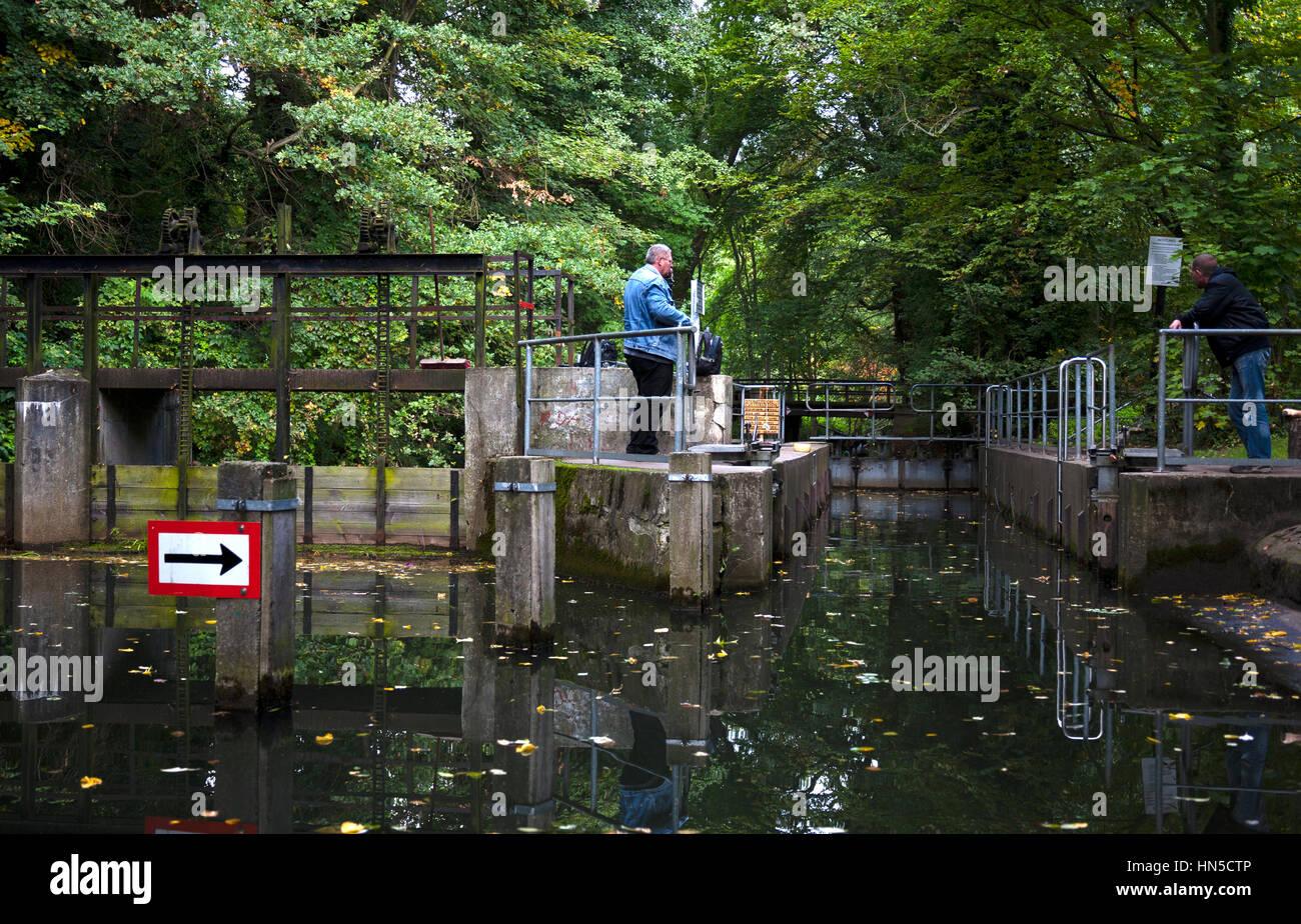 Lubbenau Brandenburg Germany.  Hand-operated lock in the Spreewald Germany - Stock Image