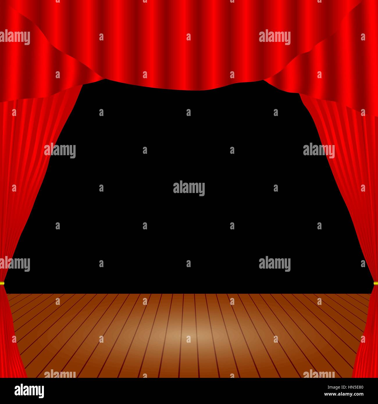 Cartoon theater. Theater curtain. Open theater curtain. Red silk side scenes on stage. Stock vector Stock Vector