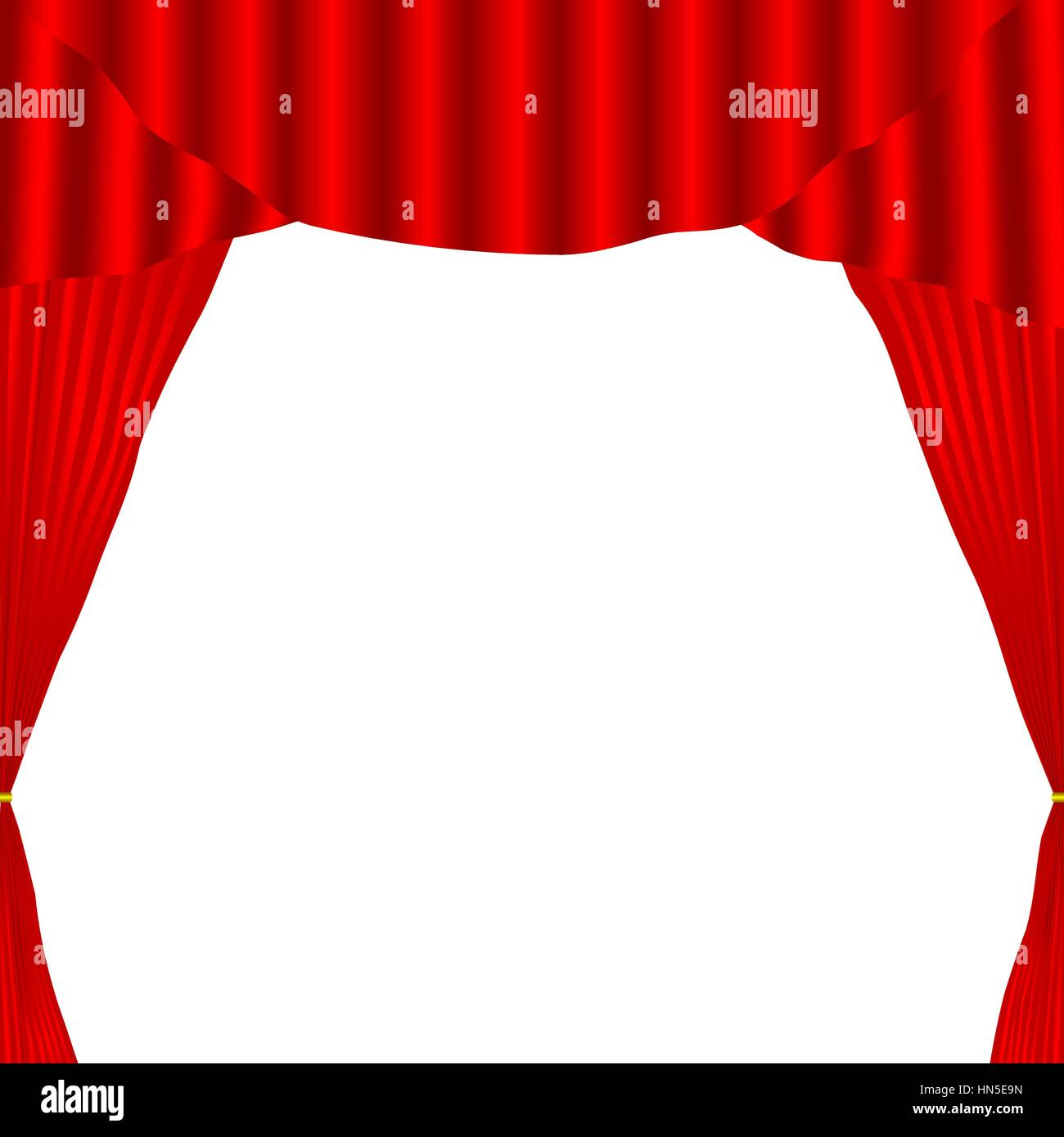 Red curtain opened on white background. Vector illustration,EPS 10. - Stock Vector