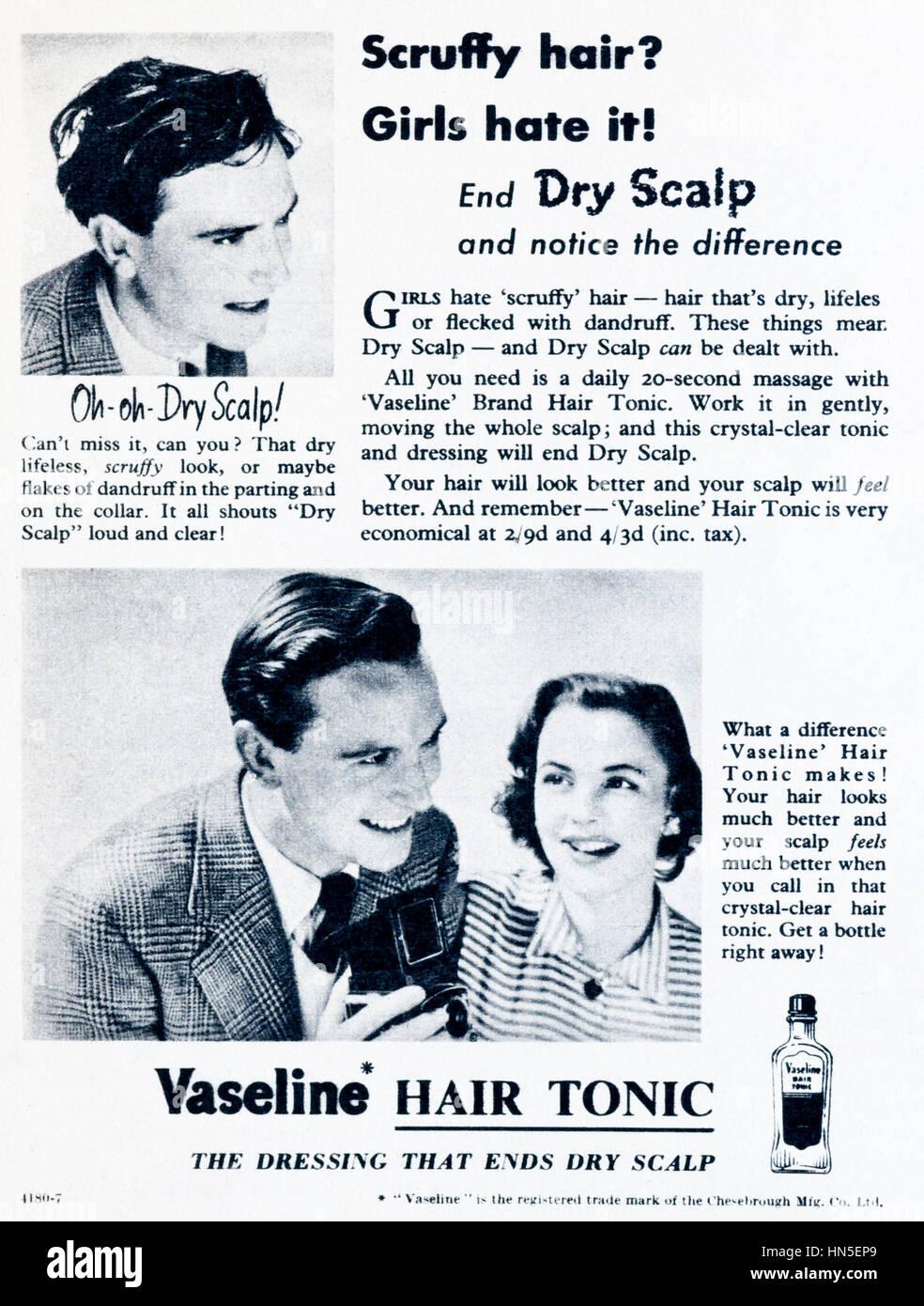 1950s magazine advert for Vaseline Hair Tonic. - Stock Image