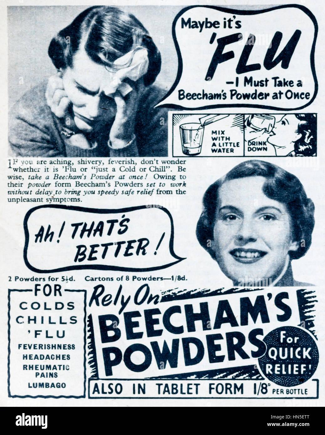 1950s magazine advertisement for Beecham's Powders. - Stock Image