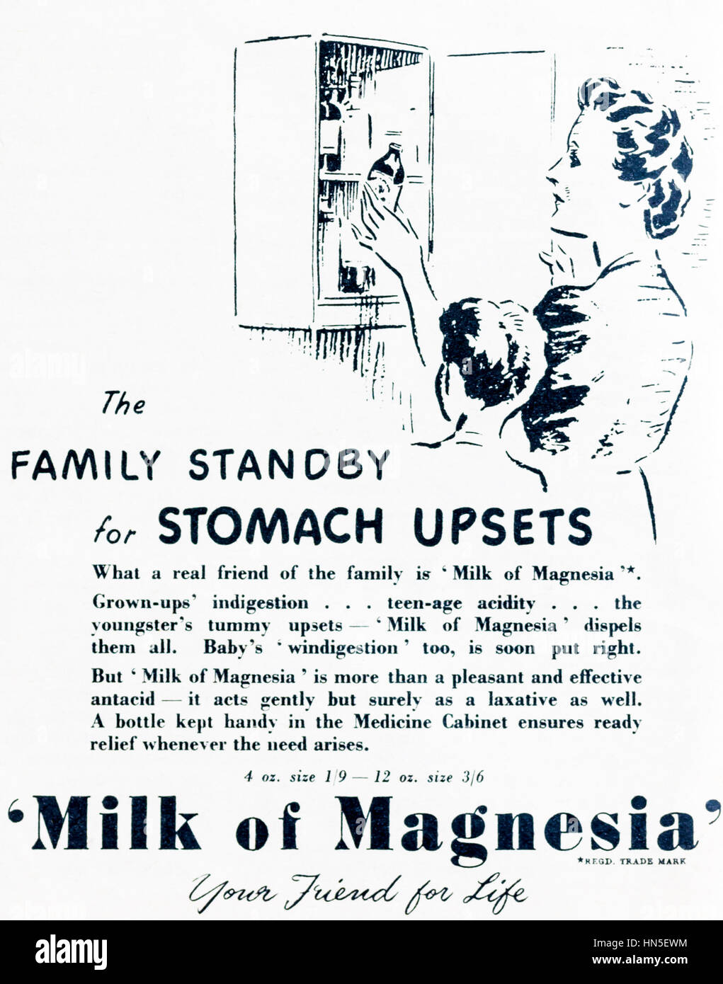 1950s magazine advertisement for Milk of Magnesia. - Stock Image