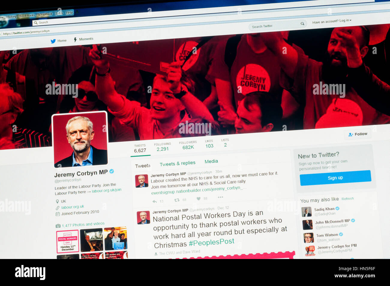 The twitter account of Jeremy Corbyn, the Leader of the Labour Party and Leader of the Opposition. - Stock Image