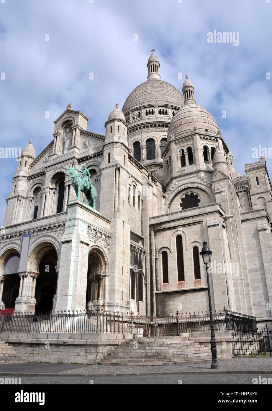 The Catholic church of Sacre Coeur at the top of  Montmartre District in Paris France. - Stock Image
