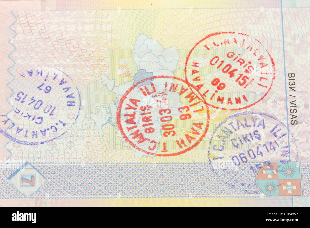 Entry visa stamp in Turkey in Antalya Stock Photo