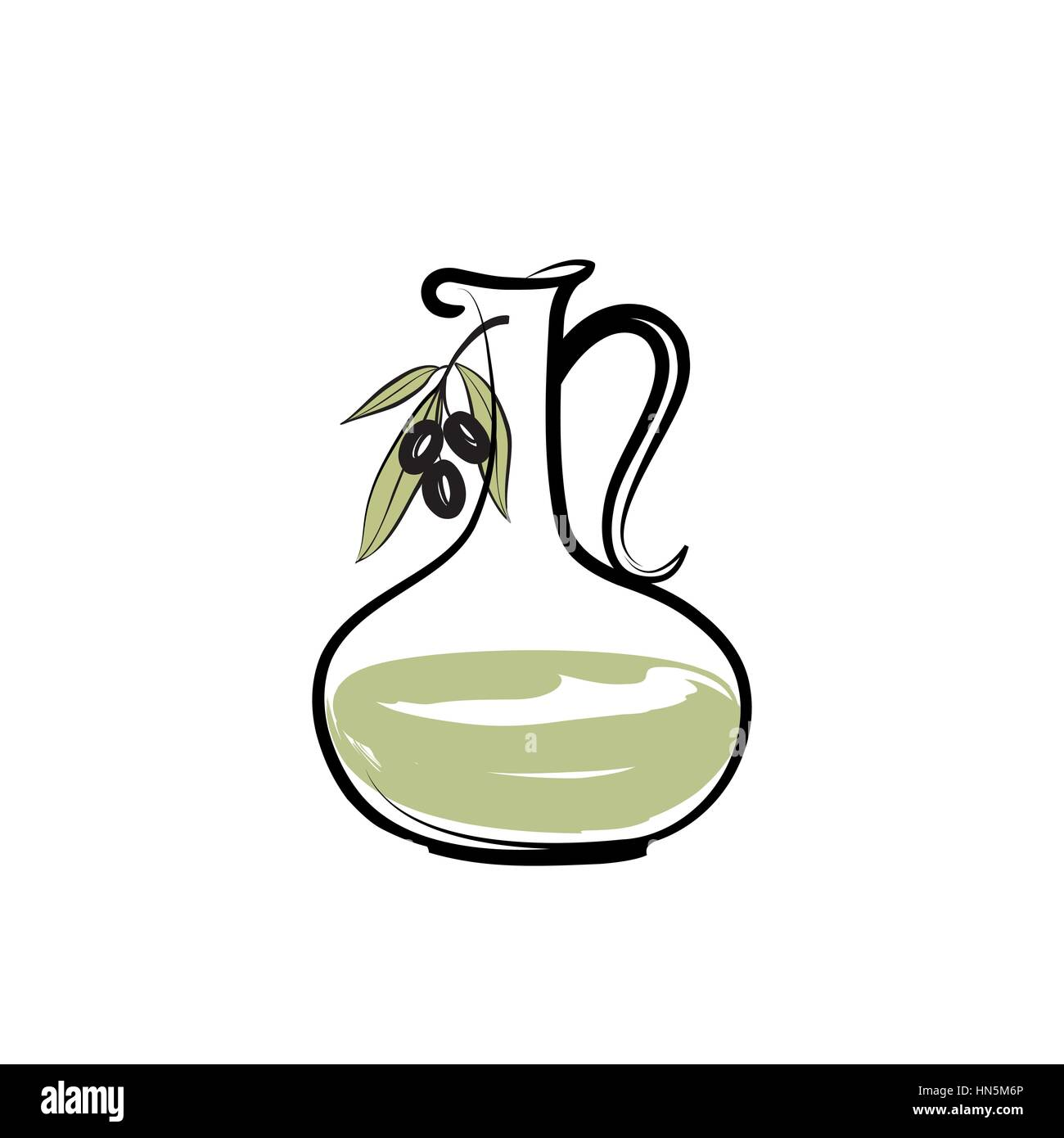 Olive oil bottle. Olives design over white background - Stock Vector