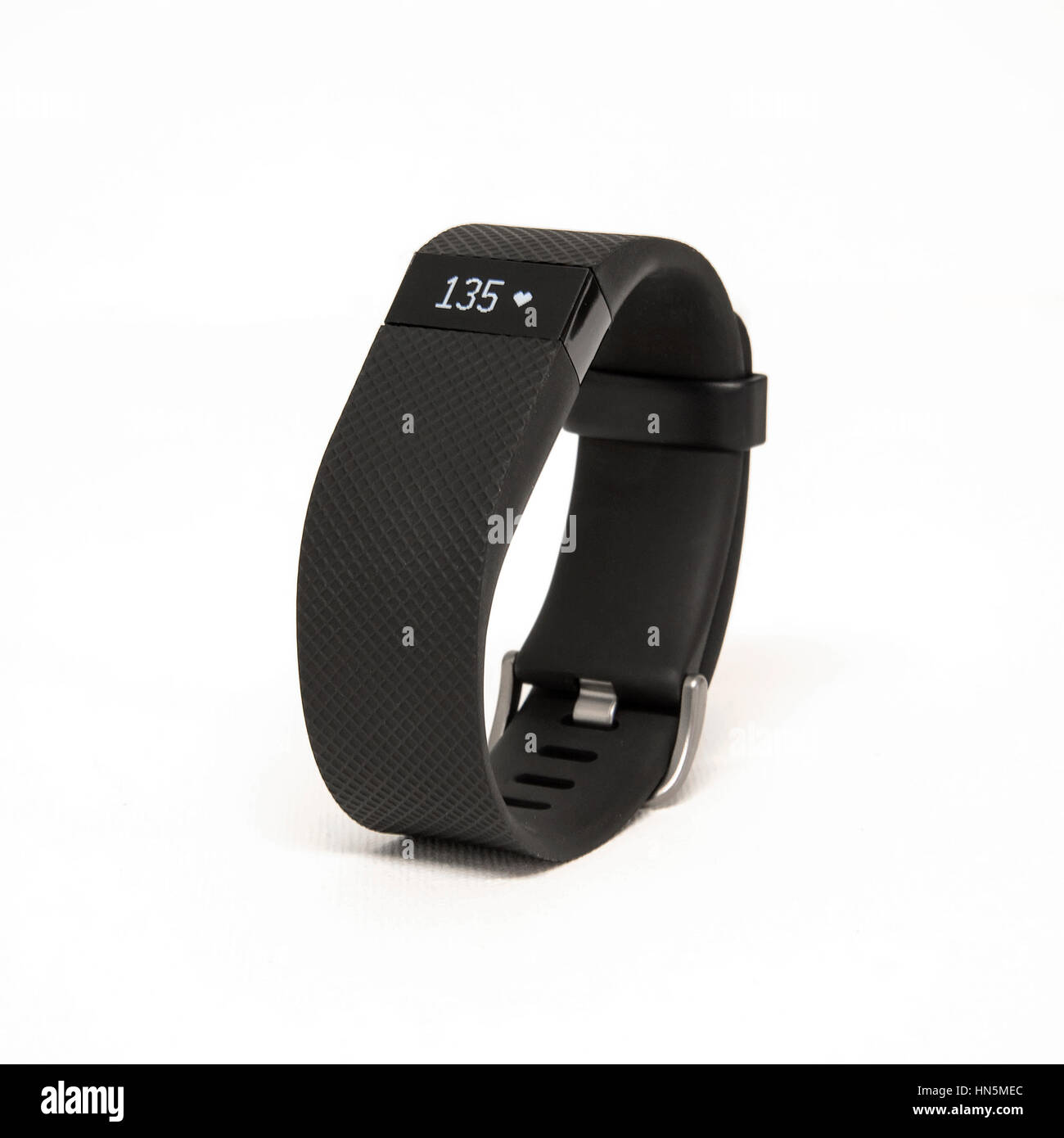HELSINGBORG, SWEDEN - MARCH 25, 2016: An illustrative editorial image of the Fitbit Charge HR isolated against a - Stock Image