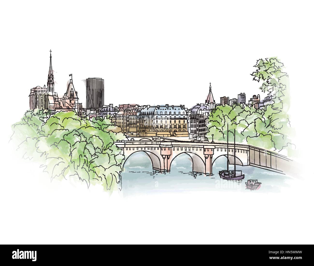 Paris cityscape with Seine embankment. Old city spring view. Street shops and cafe in Paris city. Cityscape - houses, - Stock Image