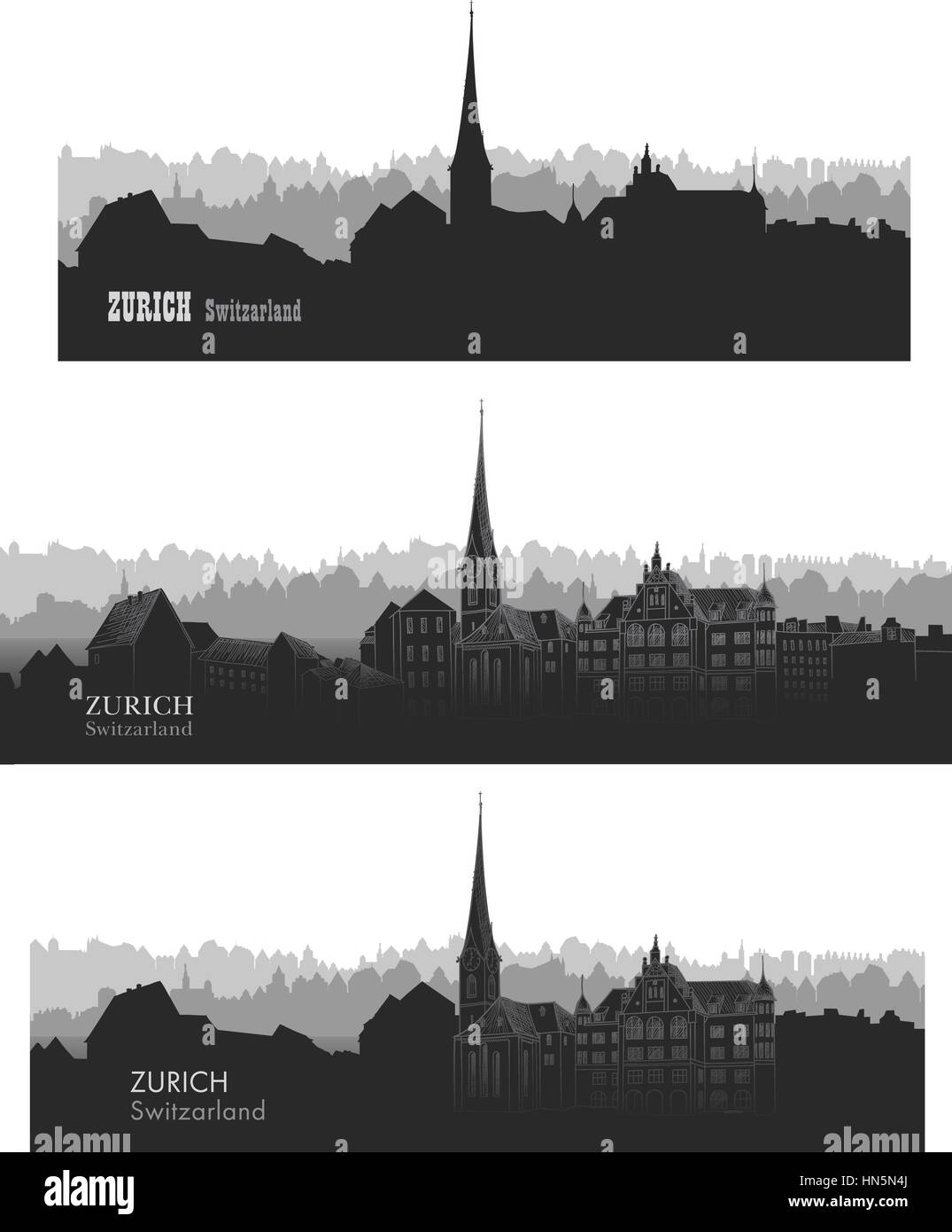 Zurich city, Switzerland. Skyline silhouette sset. Vector cityscape. Travel famous european cities set - Stock Image