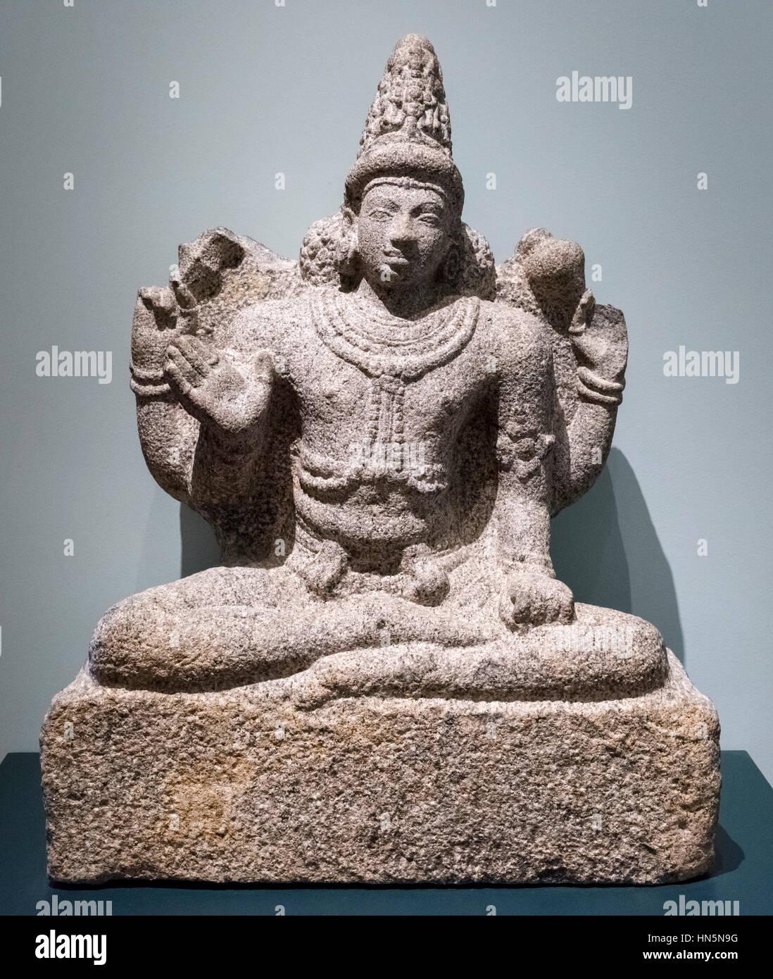 Vishnu Seated in Meditation as the Great Preserver, c.800 AD. Granite statue of the Hindu deity, Vishnu. - Stock Image