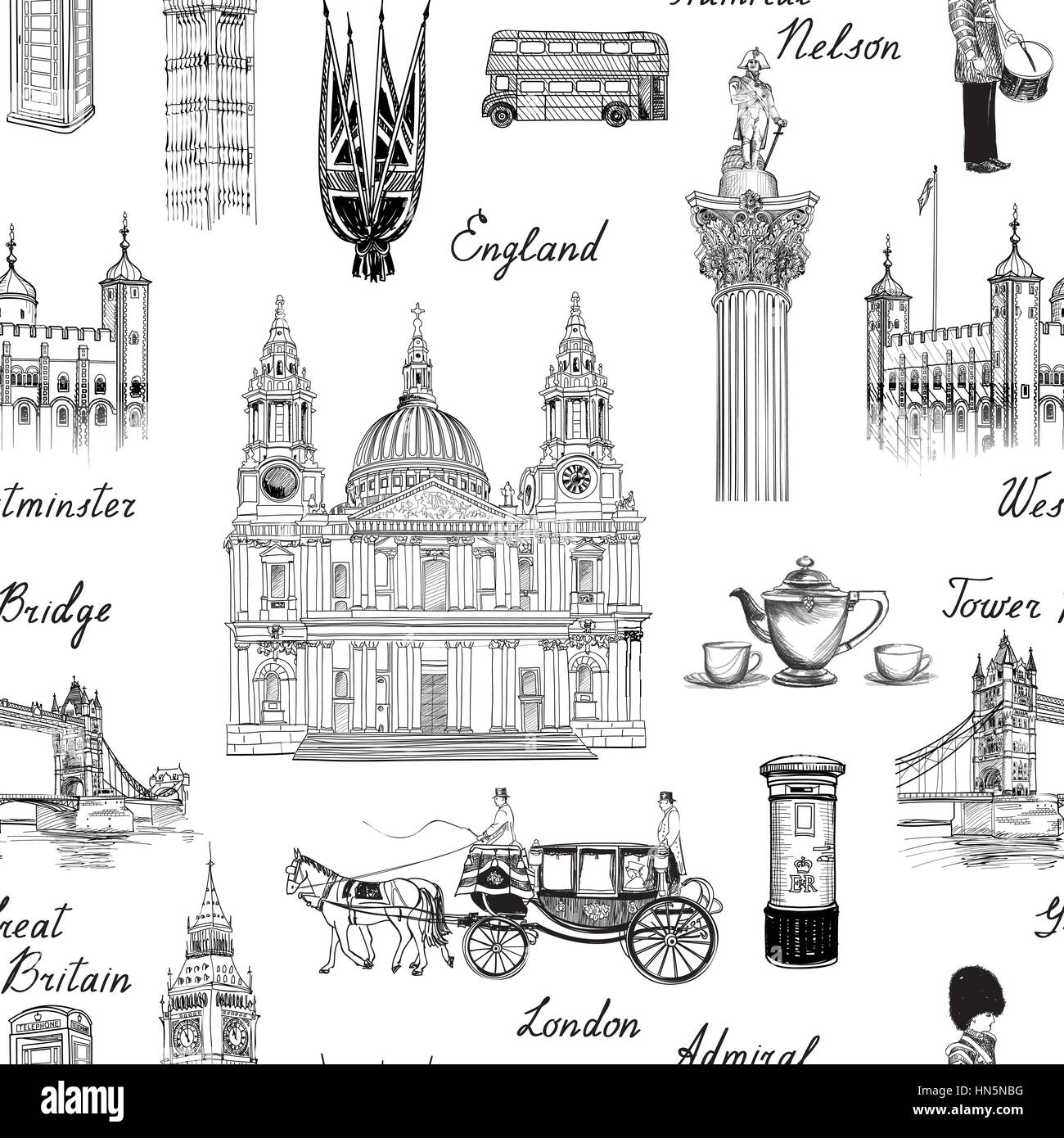 London landmark seamless pattern. Doodle travel Europe sketchy lettering. Famous architectural monuments  and symbols. - Stock Vector