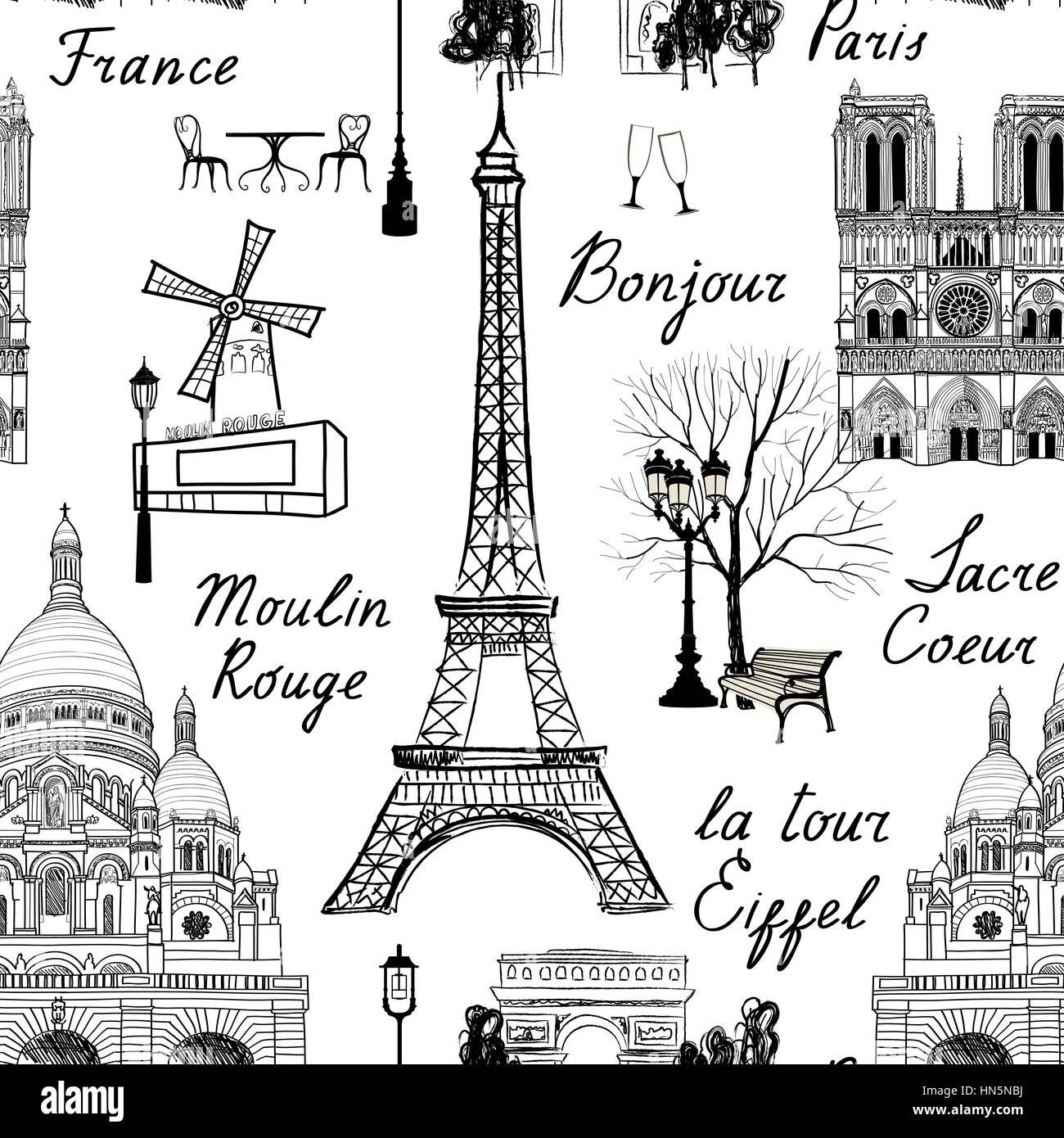 Travel Paris seamless pattern. Vacation in Europe wallpaper. Travel to visit famous places of France background. - Stock Image