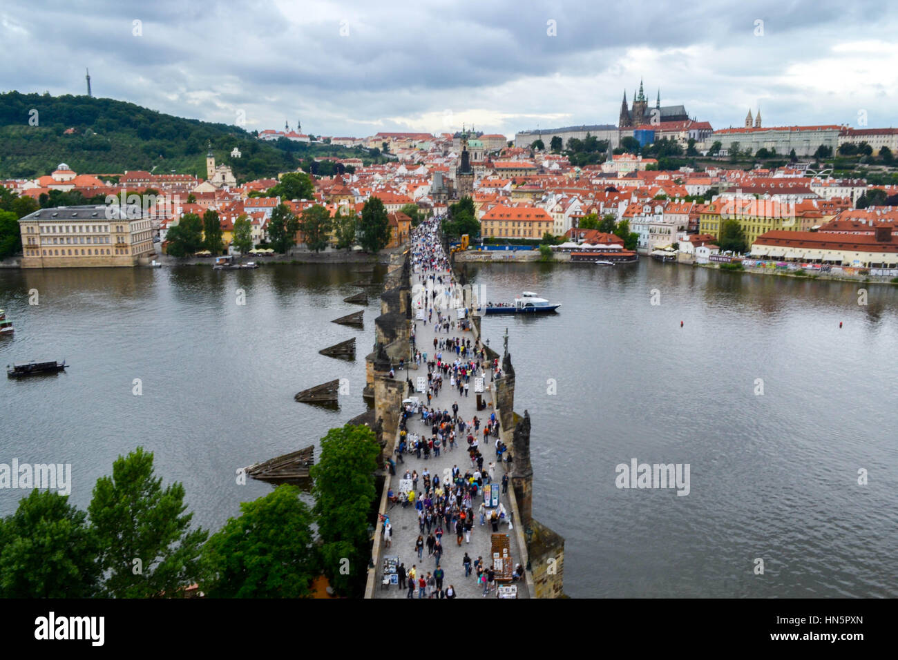 View from Old Town Tower of Charles Bridge (Karlův most) in Prague Stock Photo