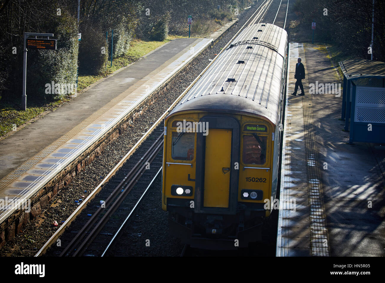 Arriva 156 DMU sprinter unit from Wales via Chester at Upton railway station to Birkenhead in Wallasey, Merseyside, - Stock Image