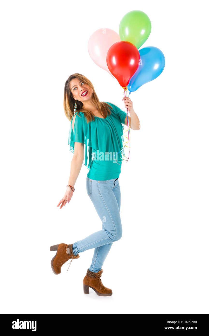 d47ffae22289 Beautiful woman holding colorful balloons isolated on white background -  Stock Image