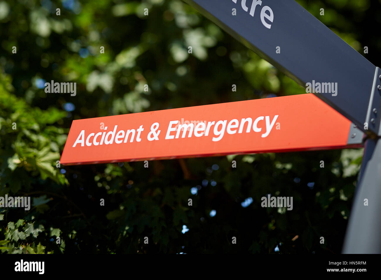 Red NHS Manchester Royal Infirmary MRI Accident and emergency Hospital information destination direction destination - Stock Image