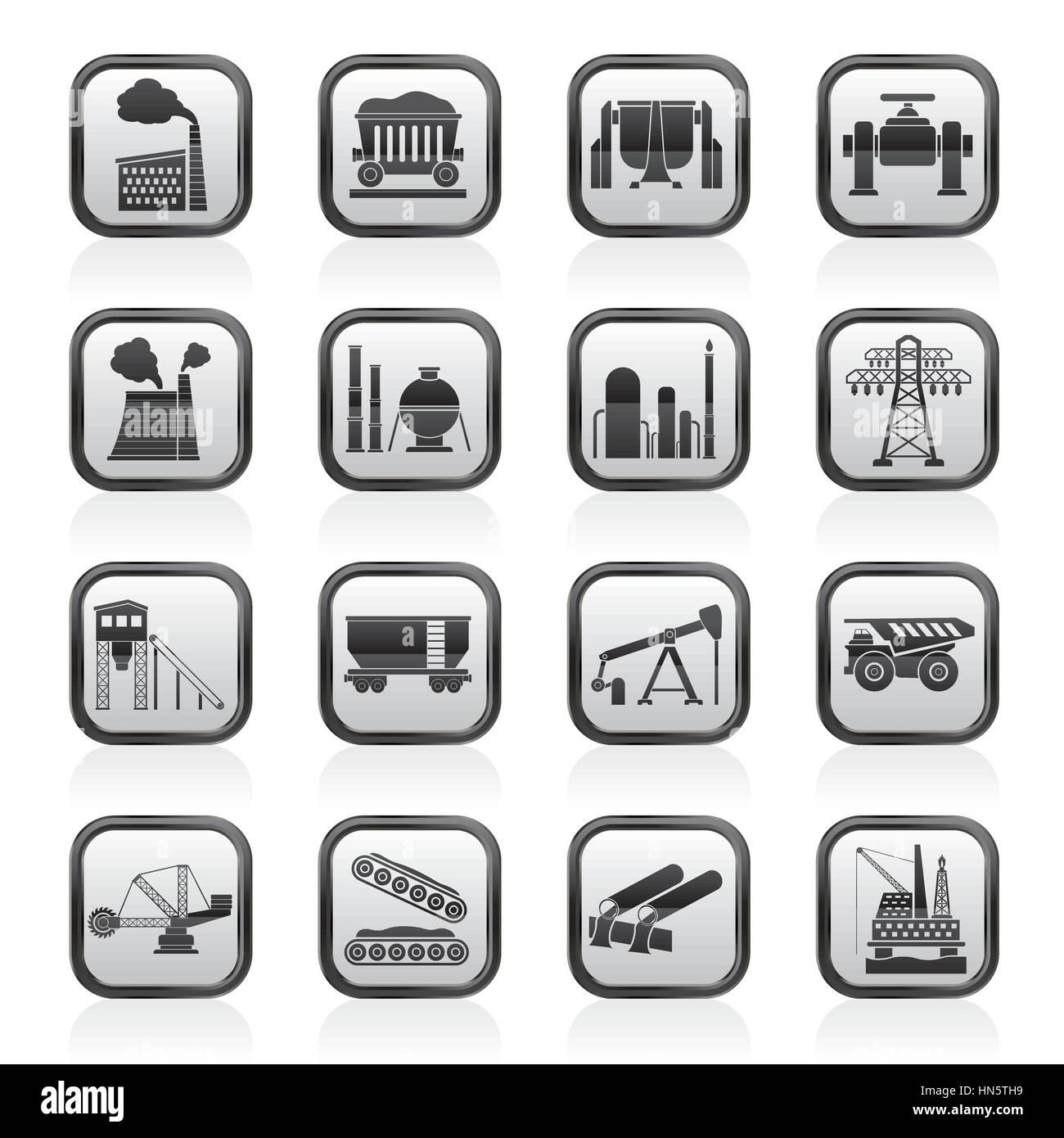 Heavy industry icons Stock Vector