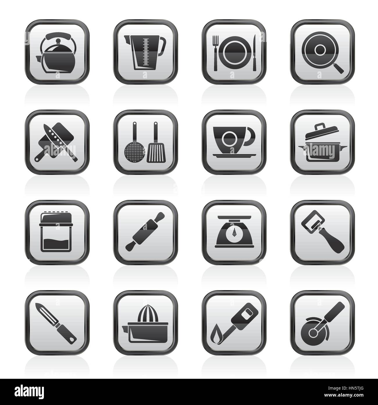 kitchen gadgets and equipment icons - Stock Image