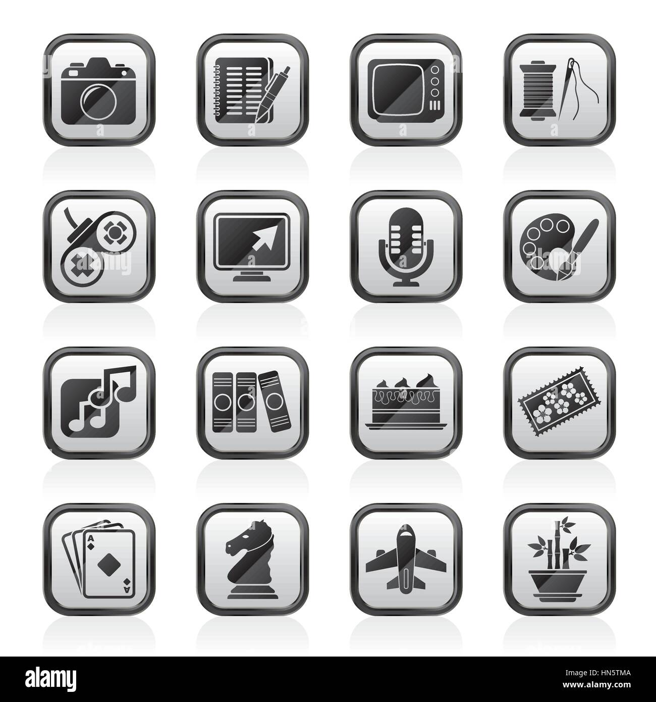 Hobbies and leisure Icons - Stock Image