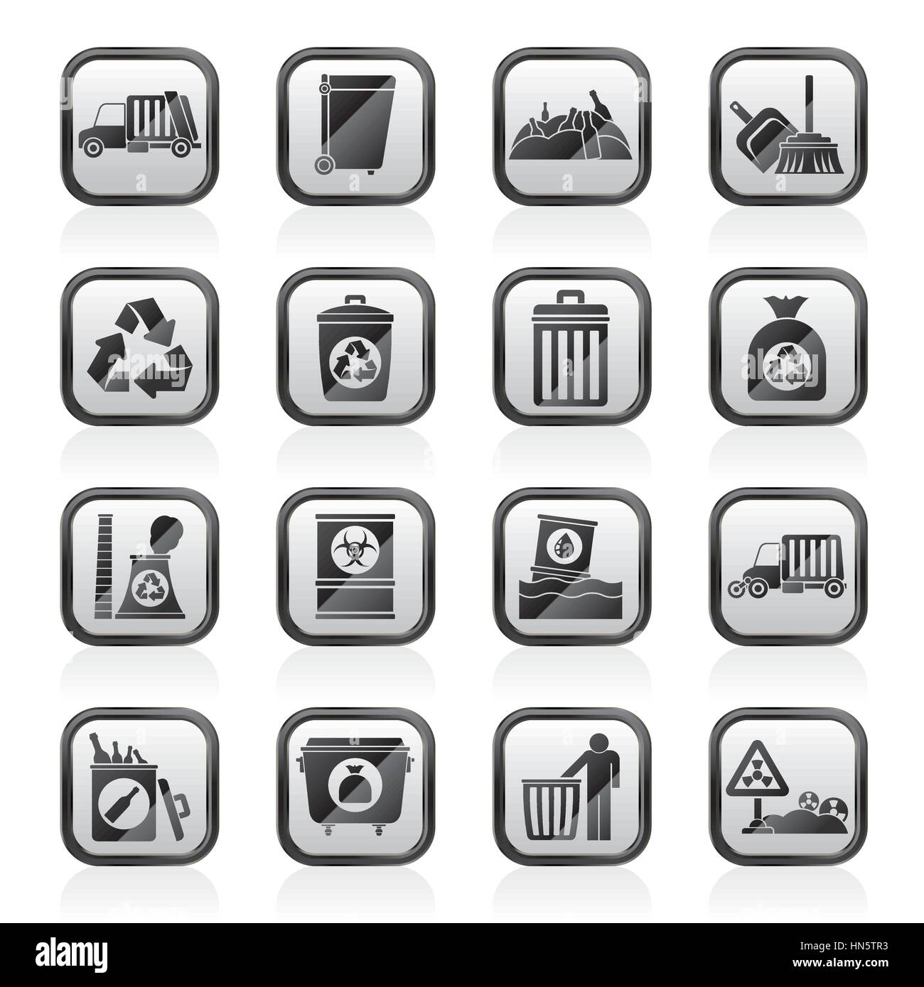 Garbage, cleaning and rubbish icons - Stock Vector